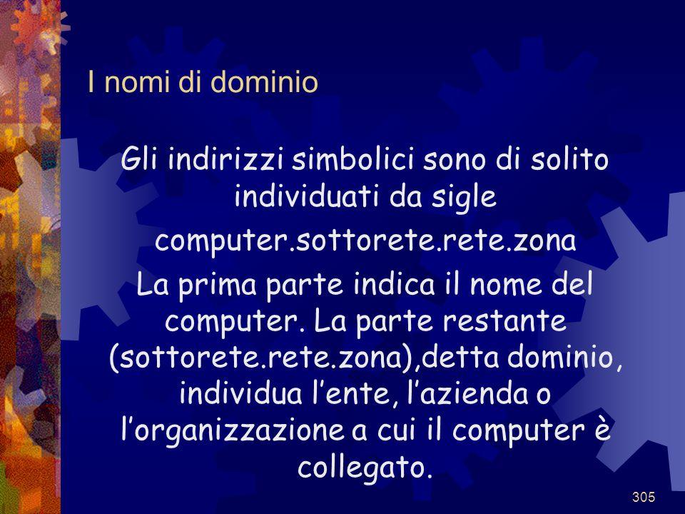 305 I nomi di dominio Gli indirizzi simbolici sono di solito individuati da sigle computer.sottorete.rete.zona La prima parte indica il nome del compu