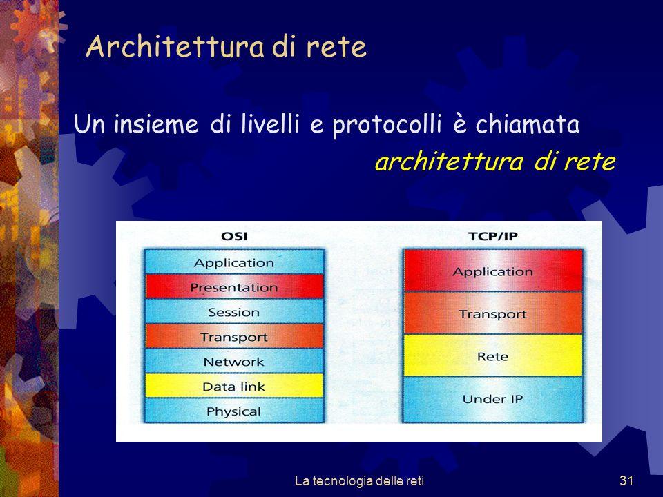 31 Architettura di rete Un insieme di livelli e protocolli è chiamata architettura di rete La tecnologia delle reti31