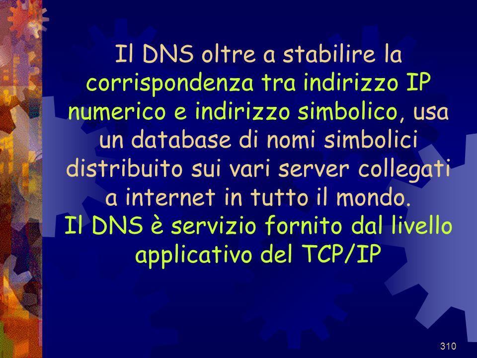 310 Il DNS oltre a stabilire la corrispondenza tra indirizzo IP numerico e indirizzo simbolico, usa un database di nomi simbolici distribuito sui vari