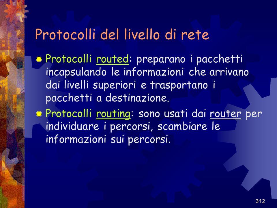 312 Protocolli del livello di rete  Protocolli routed: preparano i pacchetti incapsulando le informazioni che arrivano dai livelli superiori e traspo