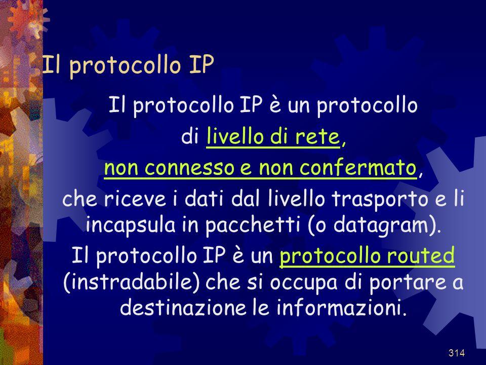 314 Il protocollo IP Il protocollo IP è un protocollo di livello di rete, non connesso e non confermato, che riceve i dati dal livello trasporto e li