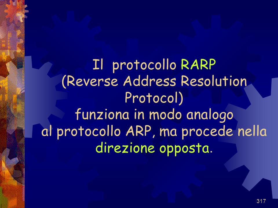 317 Il protocollo RARP (Reverse Address Resolution Protocol) funziona in modo analogo al protocollo ARP, ma procede nella direzione opposta.