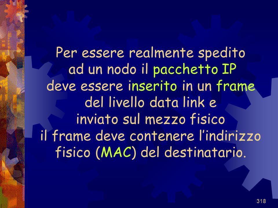 318 Per essere realmente spedito ad un nodo il pacchetto IP deve essere inserito in un frame del livello data link e inviato sul mezzo fisico il frame