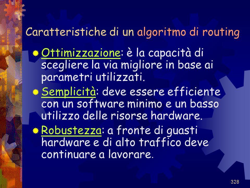 328 Caratteristiche di un algoritmo di routing  Ottimizzazione: è la capacità di scegliere la via migliore in base ai parametri utilizzati.  Semplic