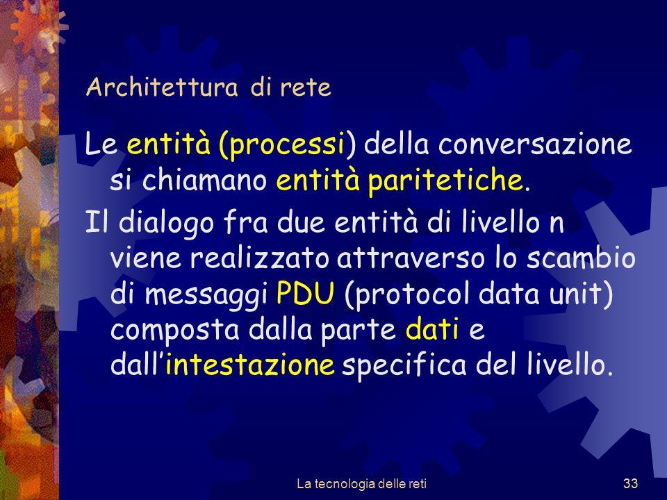 33 Architettura di rete Le entità (processi) della conversazione si chiamano entità paritetiche. Il dialogo fra due entità di livello n viene realizza