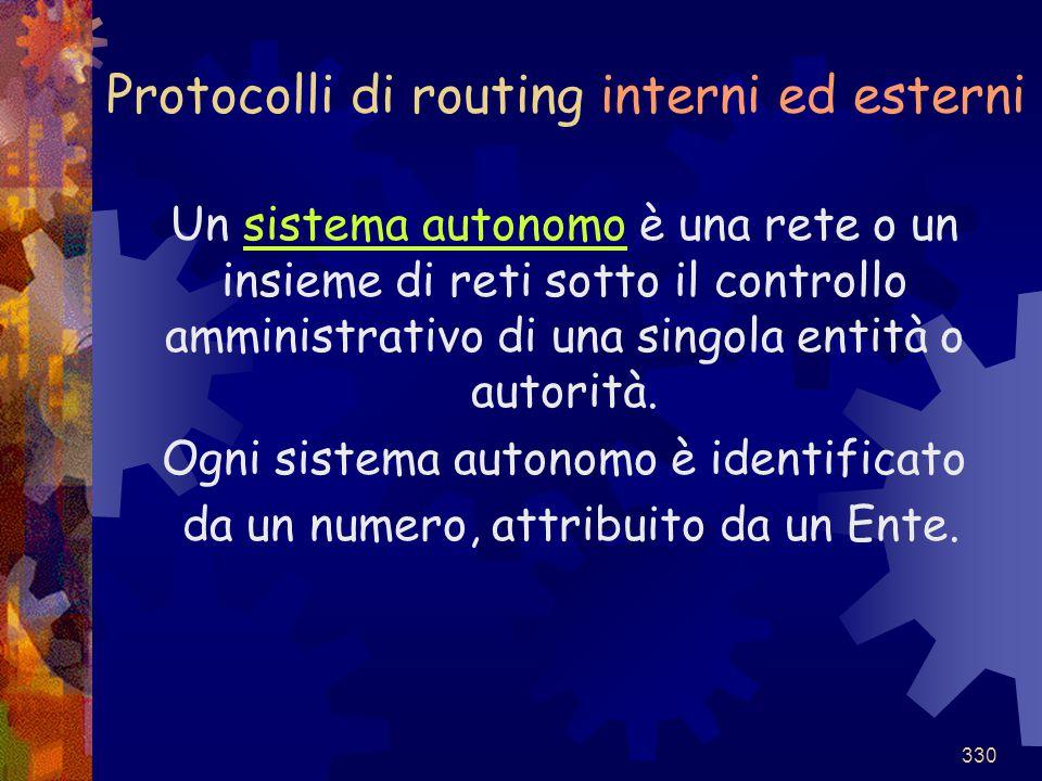 330 Protocolli di routing interni ed esterni Un sistema autonomo è una rete o un insieme di reti sotto il controllo amministrativo di una singola enti