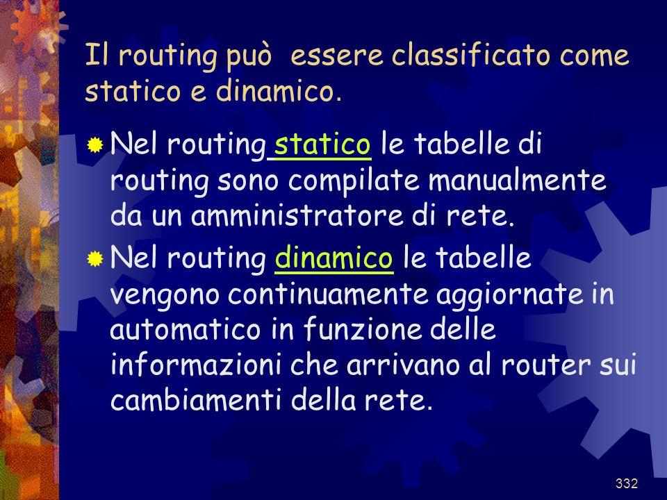 332 Il routing può essere classificato come statico e dinamico.  Nel routing statico le tabelle di routing sono compilate manualmente da un amministr