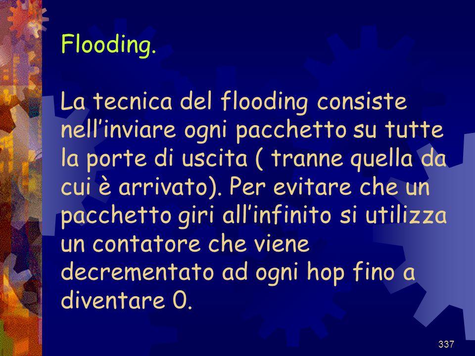 337 Flooding. La tecnica del flooding consiste nell'inviare ogni pacchetto su tutte la porte di uscita ( tranne quella da cui è arrivato). Per evitare