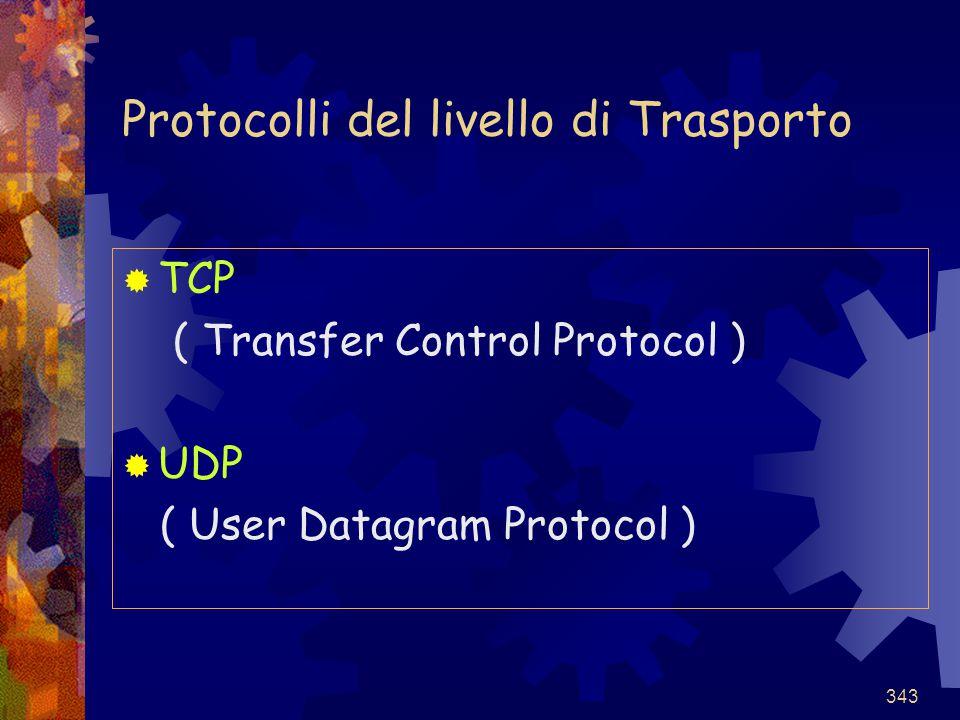 343 Protocolli del livello di Trasporto  TCP ( Transfer Control Protocol )  UDP ( User Datagram Protocol )