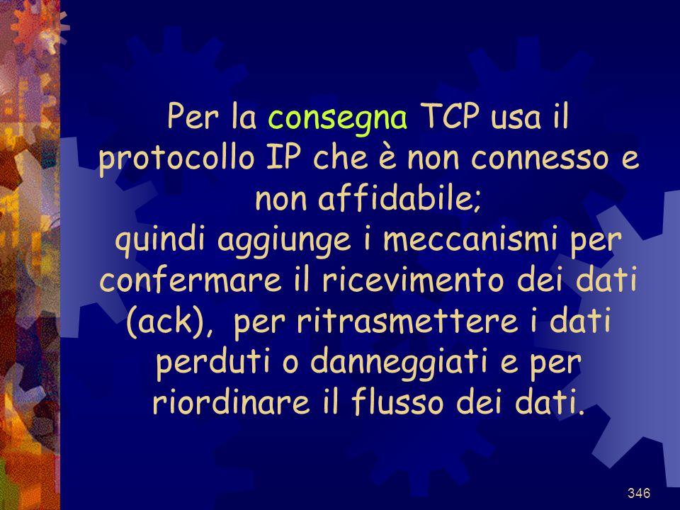 346 Per la consegna TCP usa il protocollo IP che è non connesso e non affidabile; quindi aggiunge i meccanismi per confermare il ricevimento dei dati