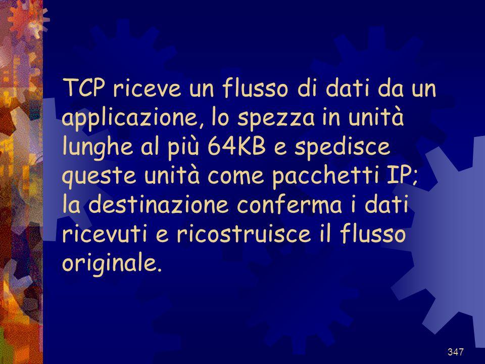 347 TCP riceve un flusso di dati da un applicazione, lo spezza in unità lunghe al più 64KB e spedisce queste unità come pacchetti IP; la destinazione