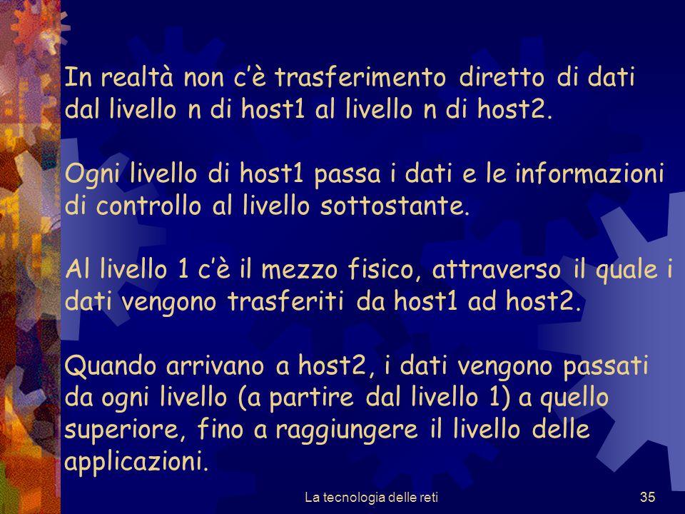 35 In realtà non c'è trasferimento diretto di dati dal livello n di host1 al livello n di host2. Ogni livello di host1 passa i dati e le informazioni