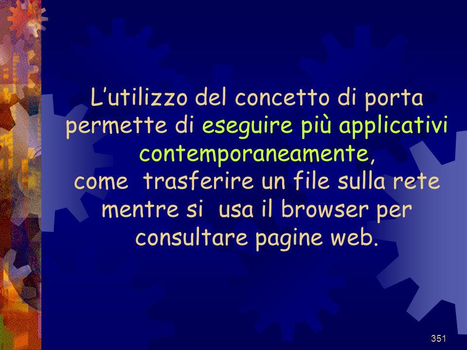 351 L'utilizzo del concetto di porta permette di eseguire più applicativi contemporaneamente, come trasferire un file sulla rete mentre si usa il brow