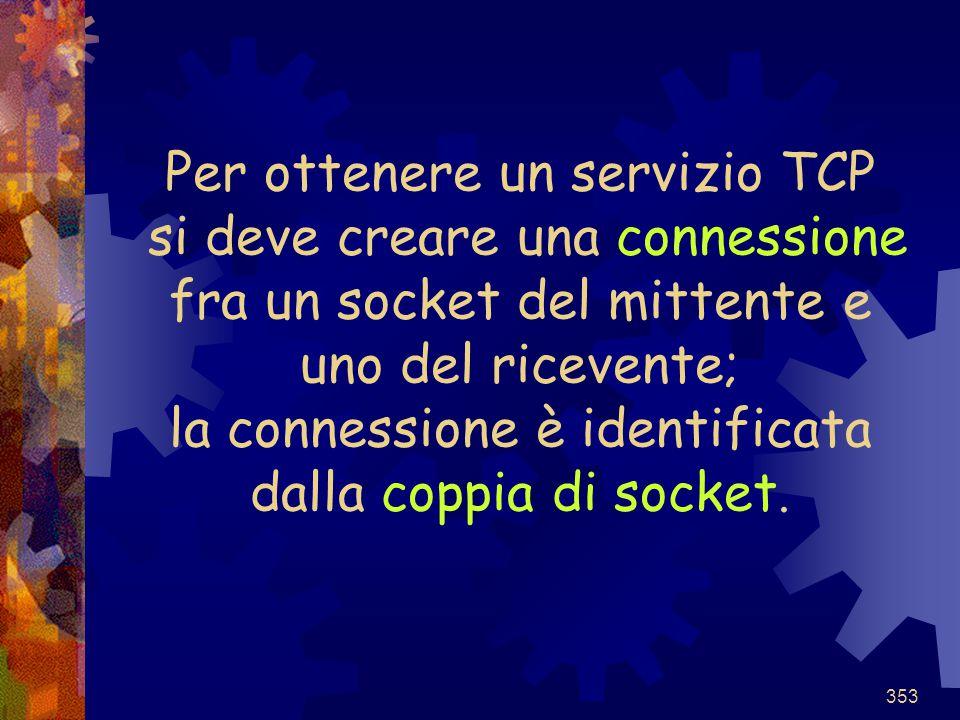 353 Per ottenere un servizio TCP si deve creare una connessione fra un socket del mittente e uno del ricevente; la connessione è identificata dalla co