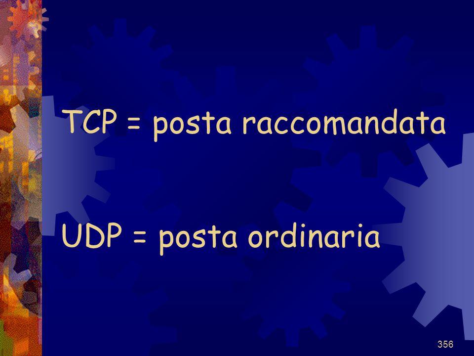 356 TCP = posta raccomandata UDP = posta ordinaria