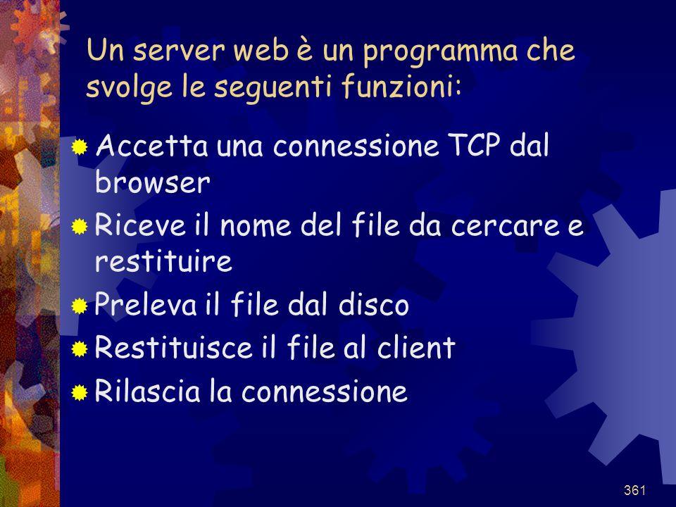 361 Un server web è un programma che svolge le seguenti funzioni:  Accetta una connessione TCP dal browser  Riceve il nome del file da cercare e res