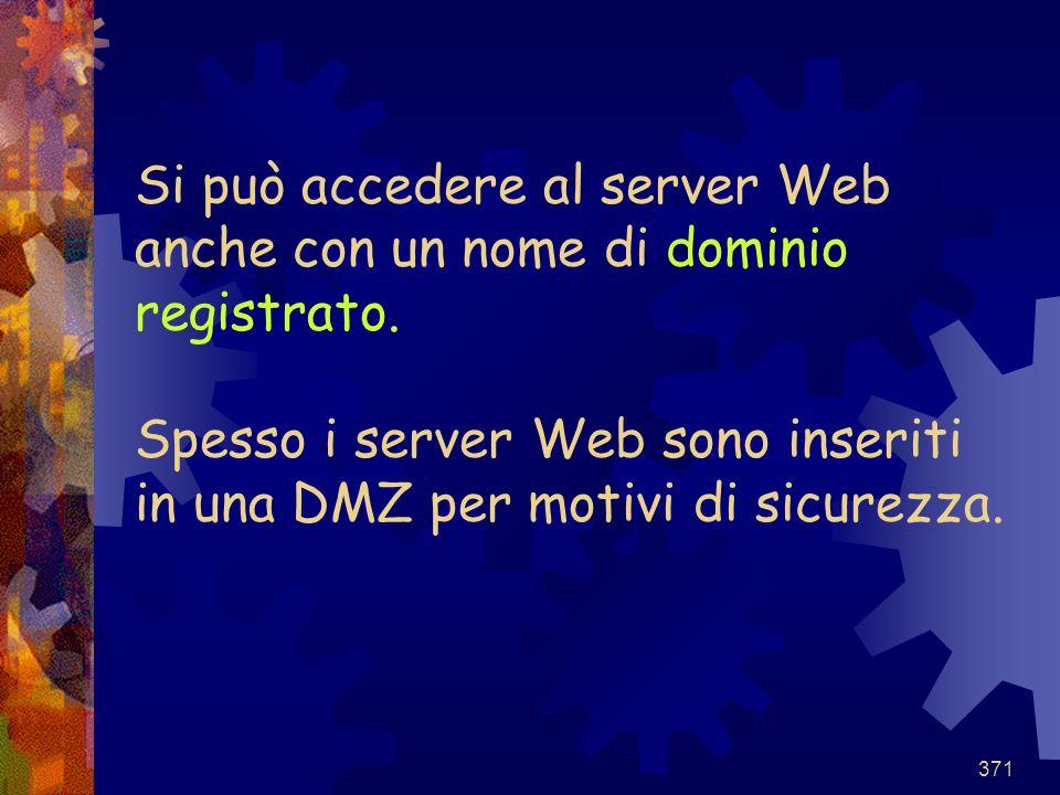 371 Si può accedere al server Web anche con un nome di dominio registrato. Spesso i server Web sono inseriti in una DMZ per motivi di sicurezza.