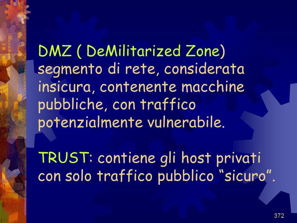 372 DMZ ( DeMilitarized Zone) segmento di rete, considerata insicura, contenente macchine pubbliche, con traffico potenzialmente vulnerabile. TRUST: c