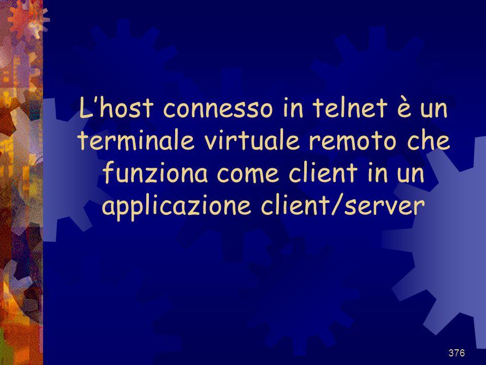 376 L'host connesso in telnet è un terminale virtuale remoto che funziona come client in un applicazione client/server