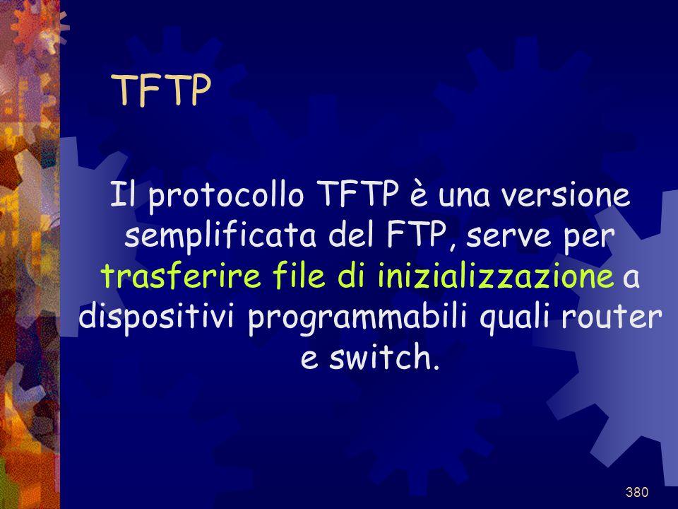 380 TFTP Il protocollo TFTP è una versione semplificata del FTP, serve per trasferire file di inizializzazione a dispositivi programmabili quali route