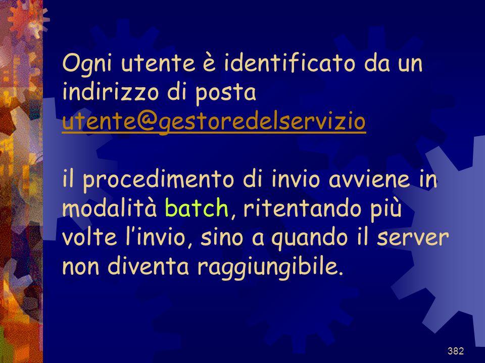 382 Ogni utente è identificato da un indirizzo di posta utente@gestoredelservizio il procedimento di invio avviene in modalità batch, ritentando più v