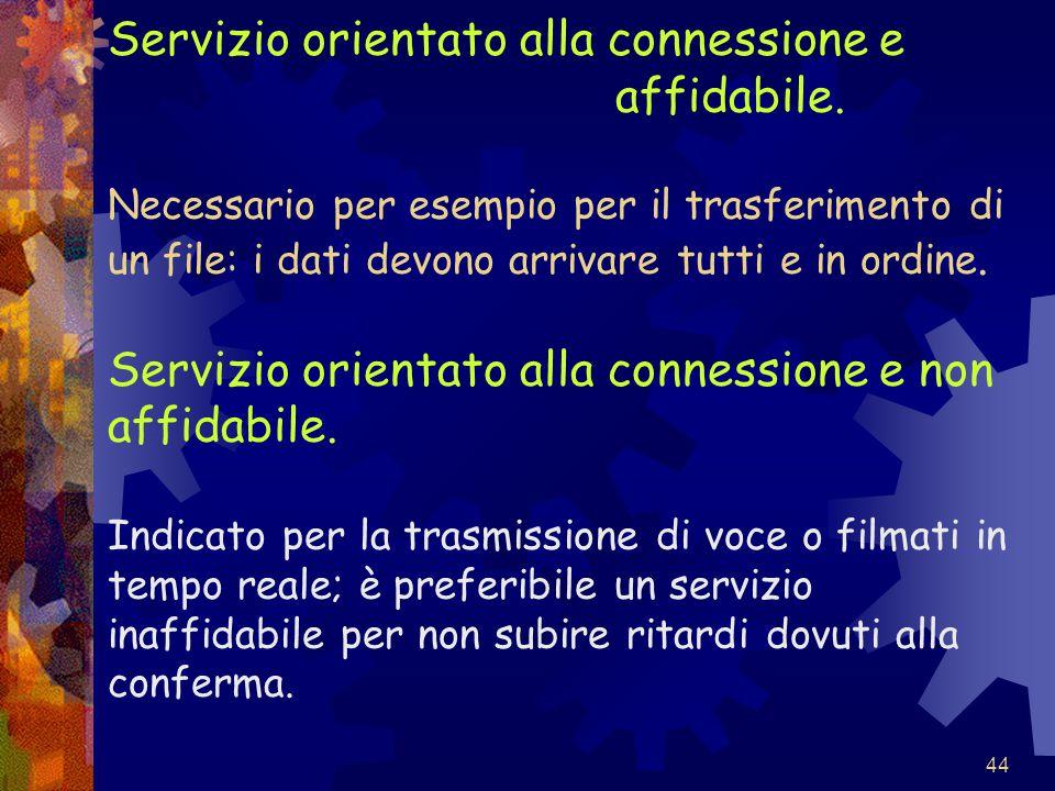 44 Servizio orientato alla connessione e affidabile. Necessario per esempio per il trasferimento di un file: i dati devono arrivare tutti e in ordine.