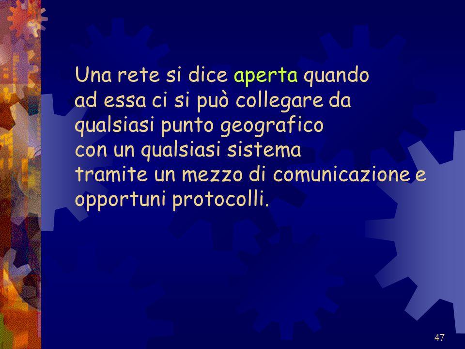 47 Una rete si dice aperta quando ad essa ci si può collegare da qualsiasi punto geografico con un qualsiasi sistema tramite un mezzo di comunicazione