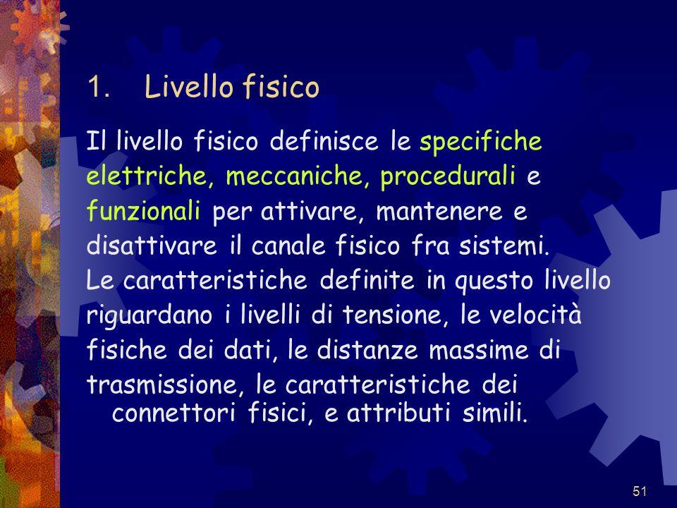 51 1. Livello fisico Il livello fisico definisce le specifiche elettriche, meccaniche, procedurali e funzionali per attivare, mantenere e disattivare