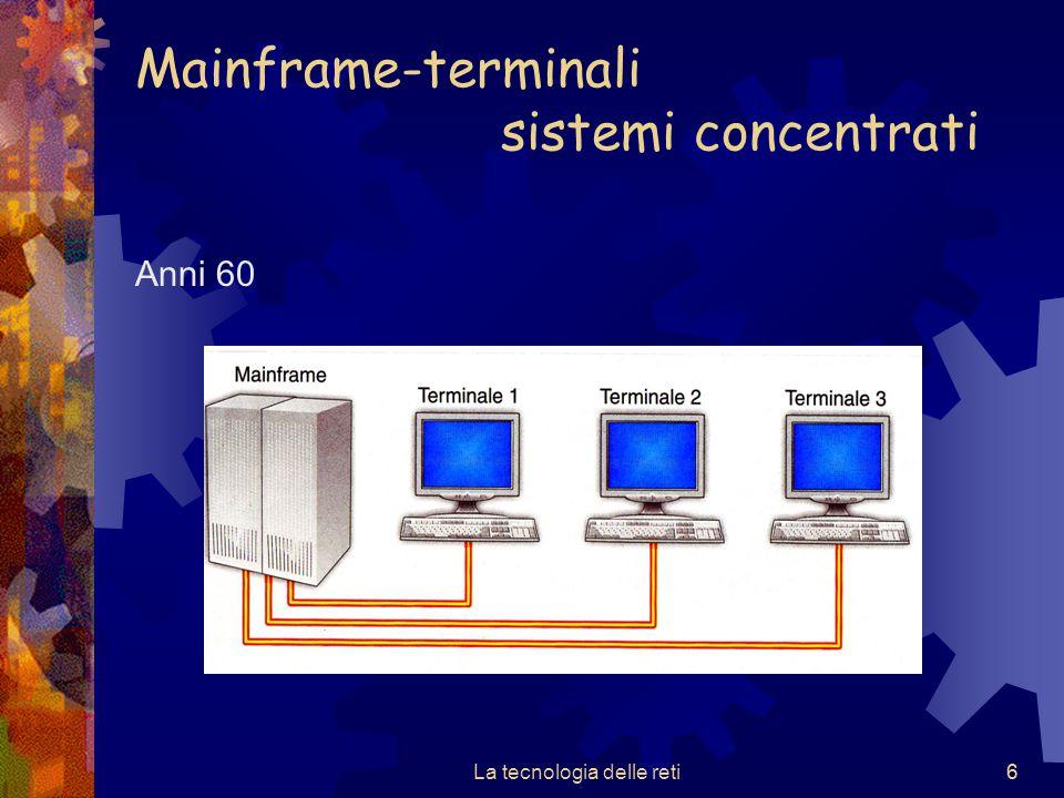6 Mainframe-terminali sistemi concentrati Anni 60 La tecnologia delle reti6