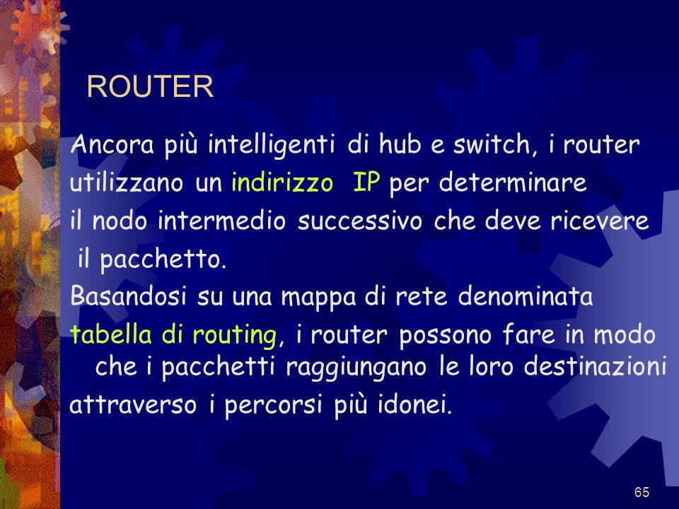 65 ROUTER Ancora più intelligenti di hub e switch, i router utilizzano un indirizzo IP per determinare il nodo intermedio successivo che deve ricevere