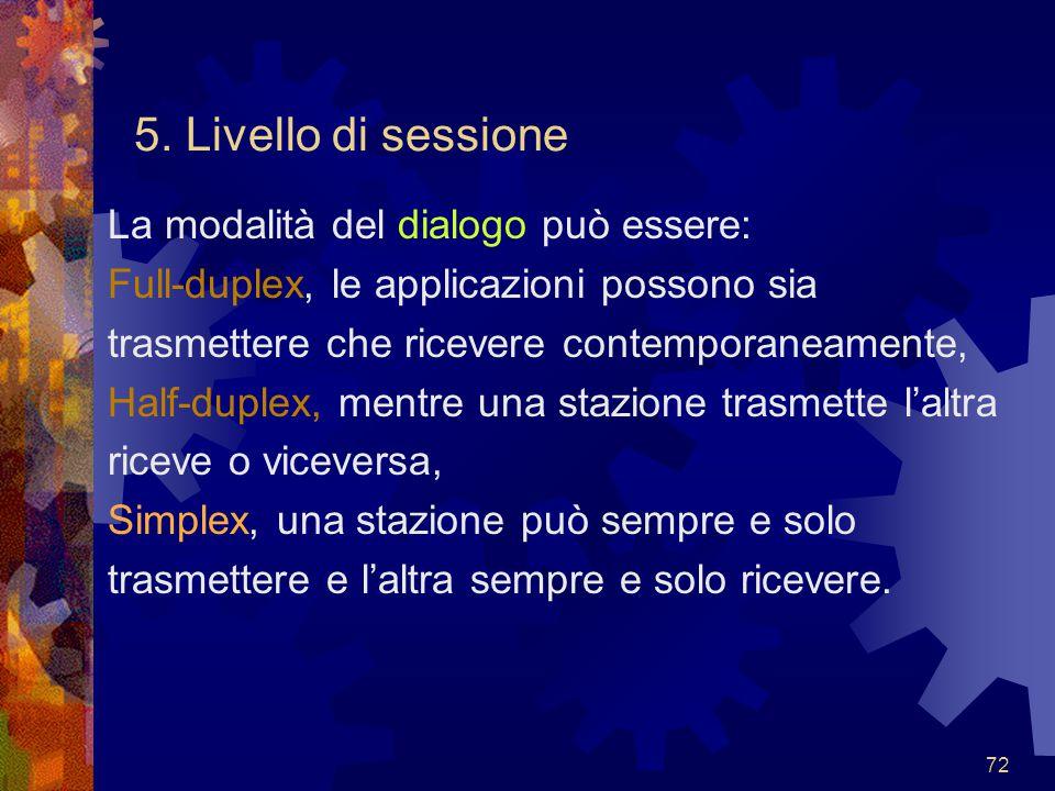 72 5. Livello di sessione La modalità del dialogo può essere: Full-duplex, le applicazioni possono sia trasmettere che ricevere contemporaneamente, Ha