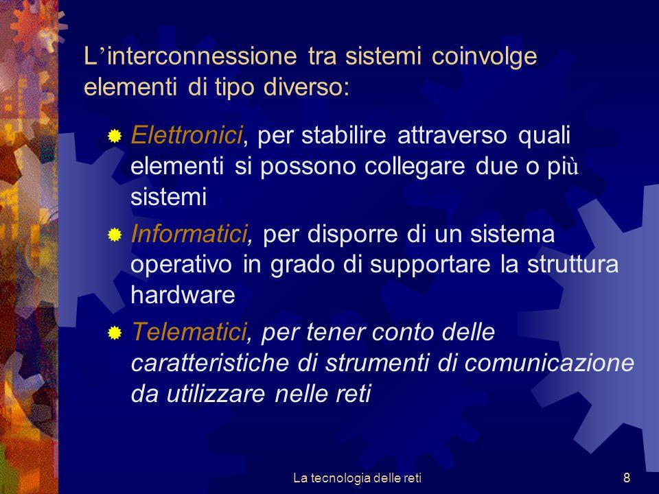8 L ' interconnessione tra sistemi coinvolge elementi di tipo diverso:  Elettronici, per stabilire attraverso quali elementi si possono collegare due