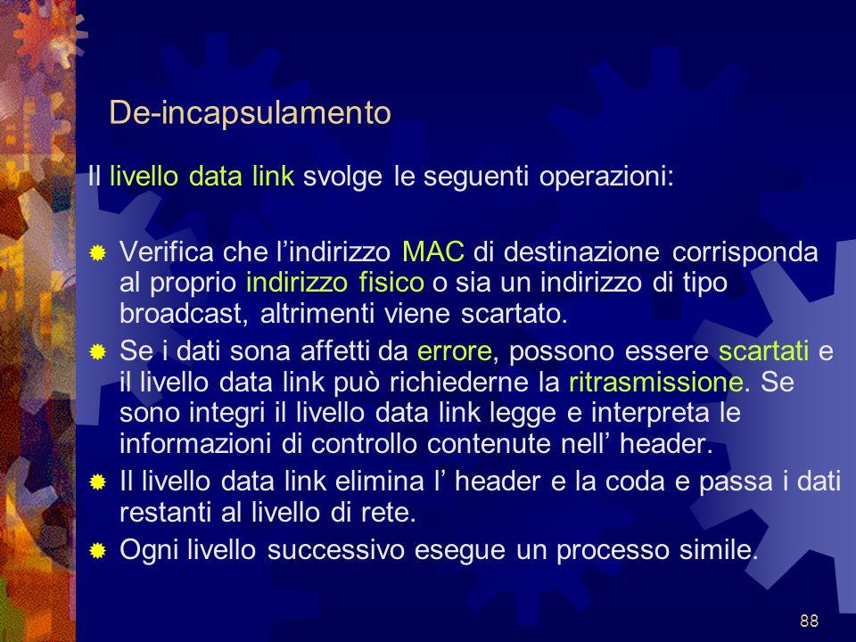 88 De-incapsulamento Il livello data link svolge le seguenti operazioni:  Verifica che l'indirizzo MAC di destinazione corrisponda al proprio indiriz