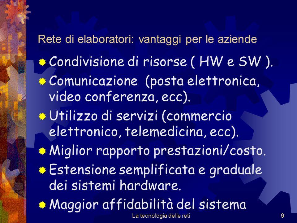 9 Rete di elaboratori: vantaggi per le aziende  Condivisione di risorse ( HW e SW ).  Comunicazione (posta elettronica, video conferenza, ecc).  Ut