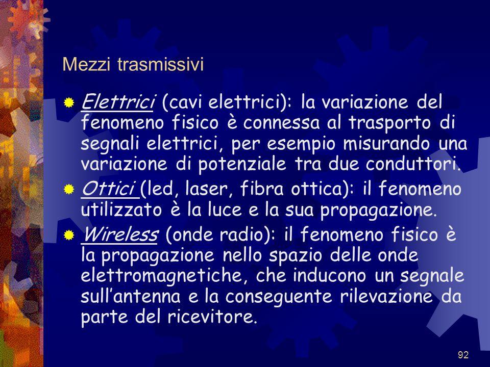 92 Mezzi trasmissivi  Elettrici (cavi elettrici): la variazione del fenomeno fisico è connessa al trasporto di segnali elettrici, per esempio misuran