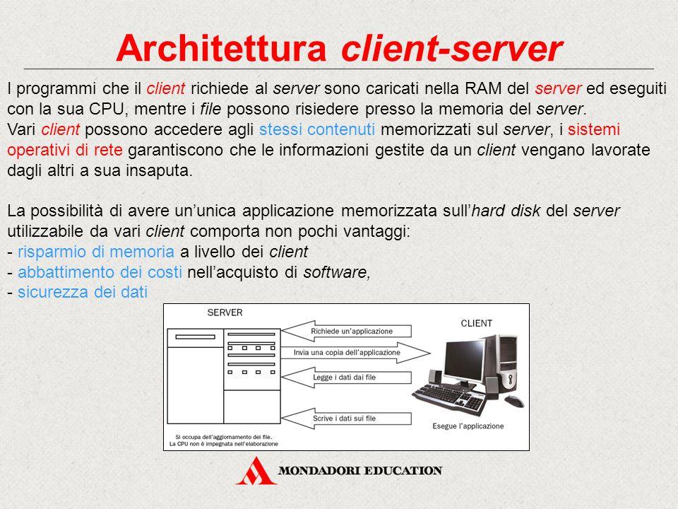 Architettura client-server I programmi che il client richiede al server sono caricati nella RAM del server ed eseguiti con la sua CPU, mentre i file possono risiedere presso la memoria del server.