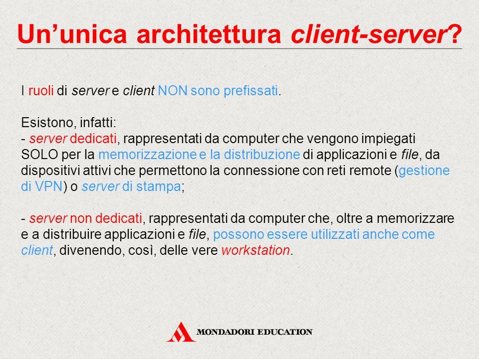 Un'unica architettura client-server.I ruoli di server e client NON sono prefissati.