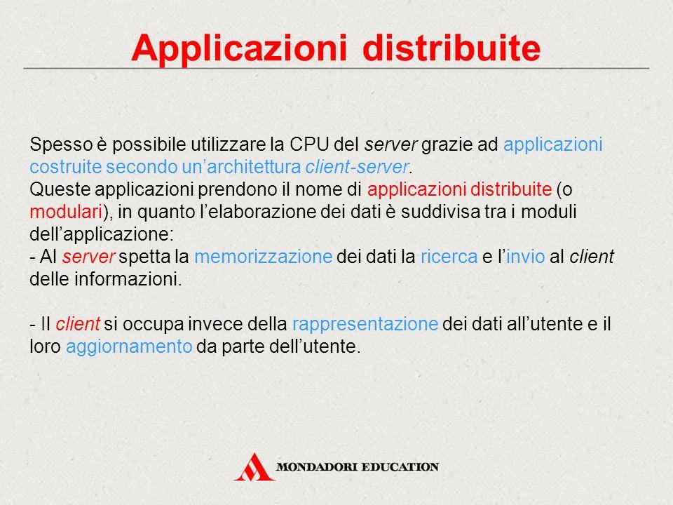 Applicazioni distribuite Spesso è possibile utilizzare la CPU del server grazie ad applicazioni costruite secondo un'architettura client-server.