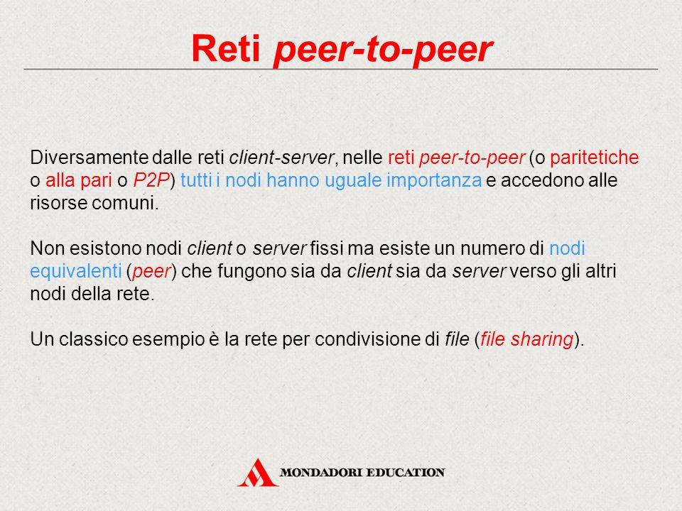 Reti peer-to-peer Diversamente dalle reti client-server, nelle reti peer-to-peer (o paritetiche o alla pari o P2P) tutti i nodi hanno uguale importanza e accedono alle risorse comuni.