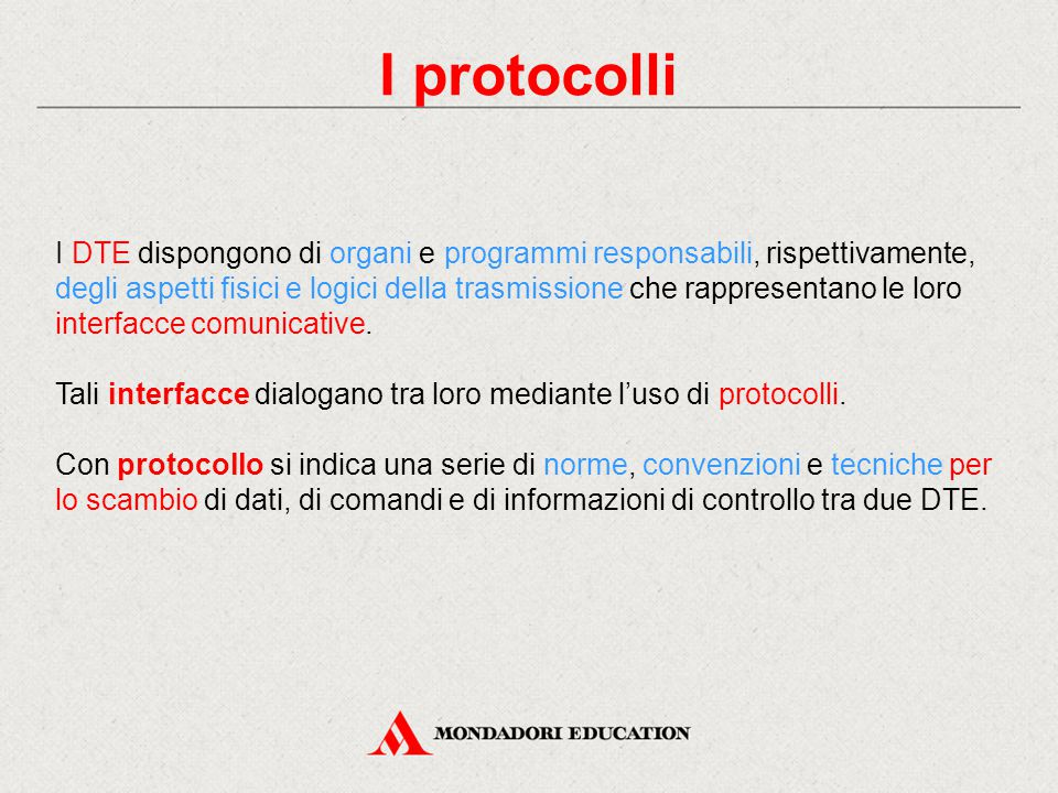 I protocolli I DTE dispongono di organi e programmi responsabili, rispettivamente, degli aspetti fisici e logici della trasmissione che rappresentano le loro interfacce comunicative.