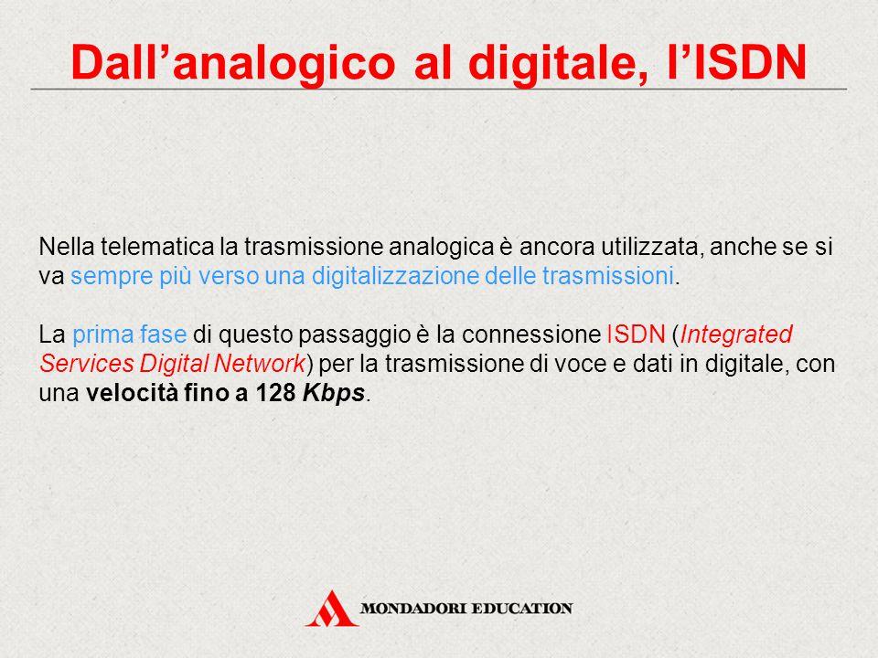 Dall'analogico al digitale, l'ISDN Nella telematica la trasmissione analogica è ancora utilizzata, anche se si va sempre più verso una digitalizzazione delle trasmissioni.