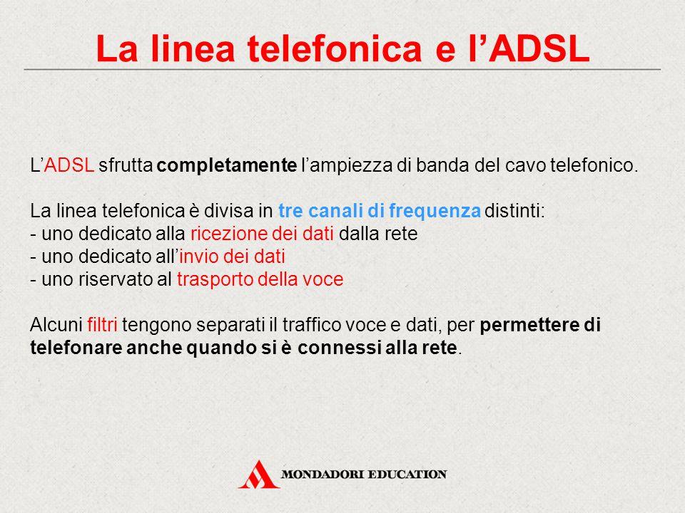 La linea telefonica e l'ADSL L'ADSL sfrutta completamente l'ampiezza di banda del cavo telefonico.