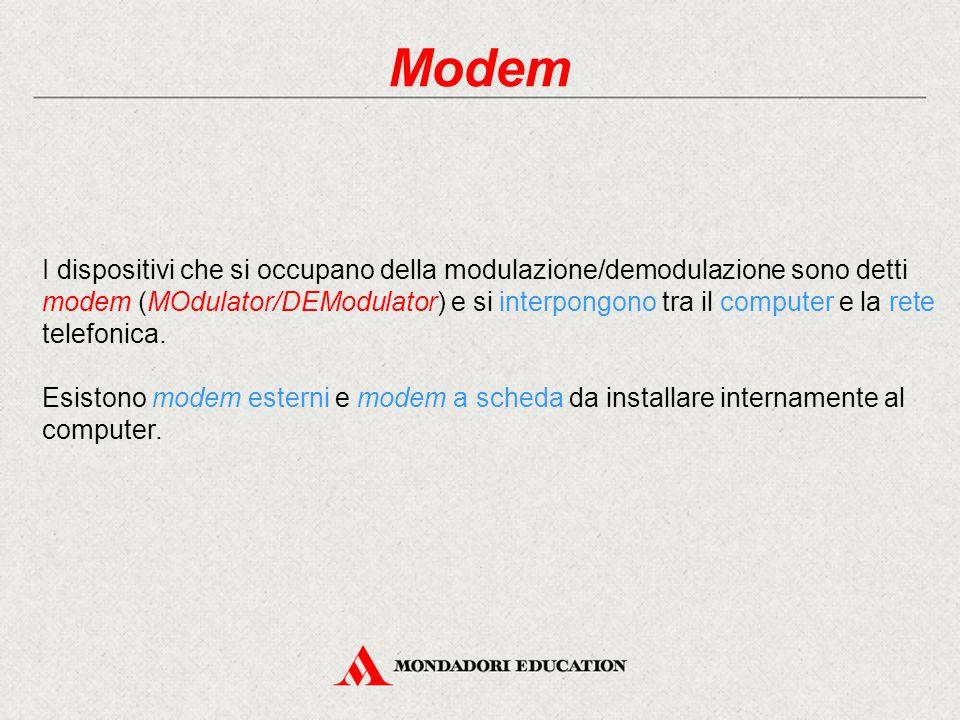 Modem I dispositivi che si occupano della modulazione/demodulazione sono detti modem (MOdulator/DEModulator) e si interpongono tra il computer e la rete telefonica.