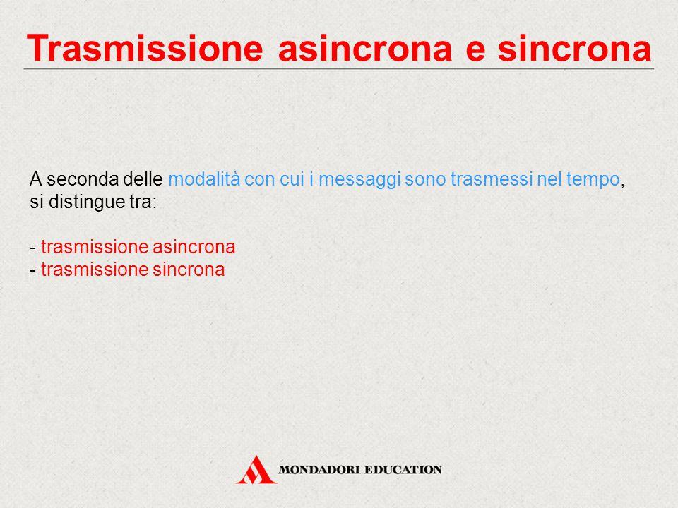 Trasmissione asincrona e sincrona A seconda delle modalità con cui i messaggi sono trasmessi nel tempo, si distingue tra: - trasmissione asincrona - trasmissione sincrona