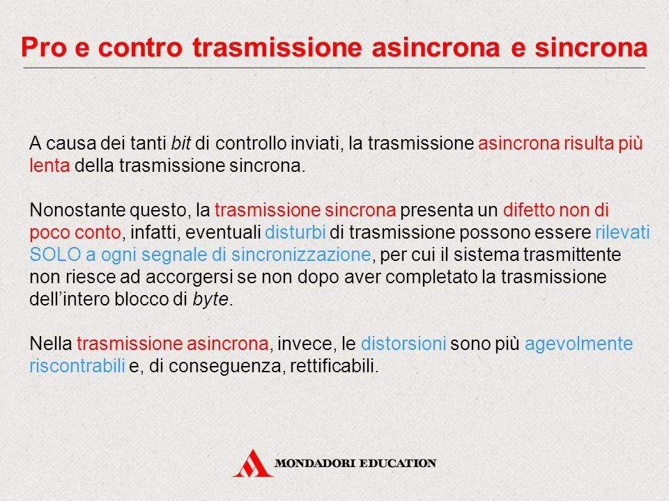 Pro e contro trasmissione asincrona e sincrona A causa dei tanti bit di controllo inviati, la trasmissione asincrona risulta più lenta della trasmissione sincrona.