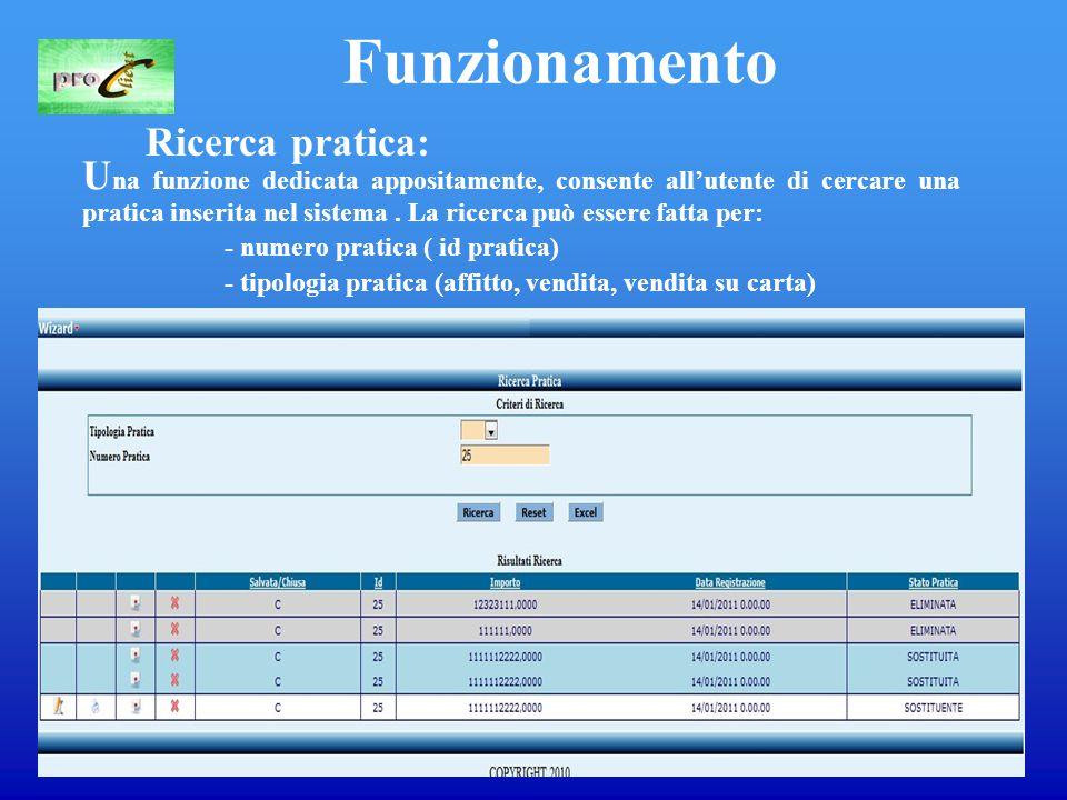 11 Funzionamento Ricerca pratica: U na funzione dedicata appositamente, consente all'utente di cercare una pratica inserita nel sistema.
