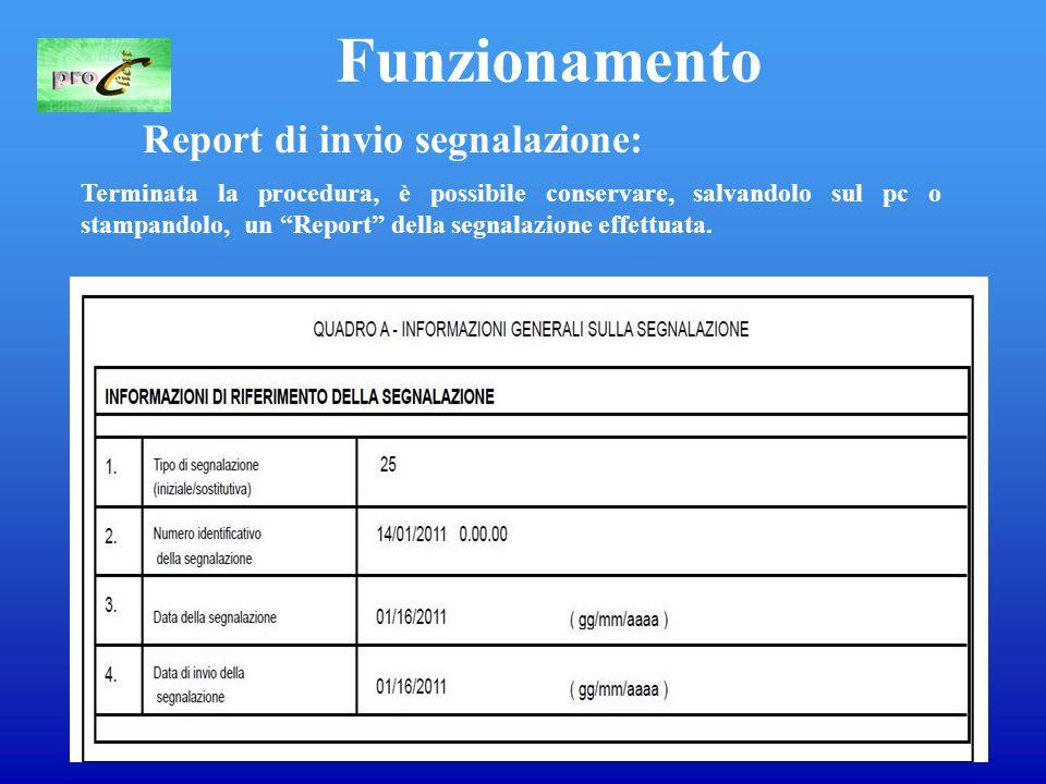 13 Funzionamento Report di invio segnalazione: Terminata la procedura, è possibile conservare, salvandolo sul pc o stampandolo, un Report della segnalazione effettuata.