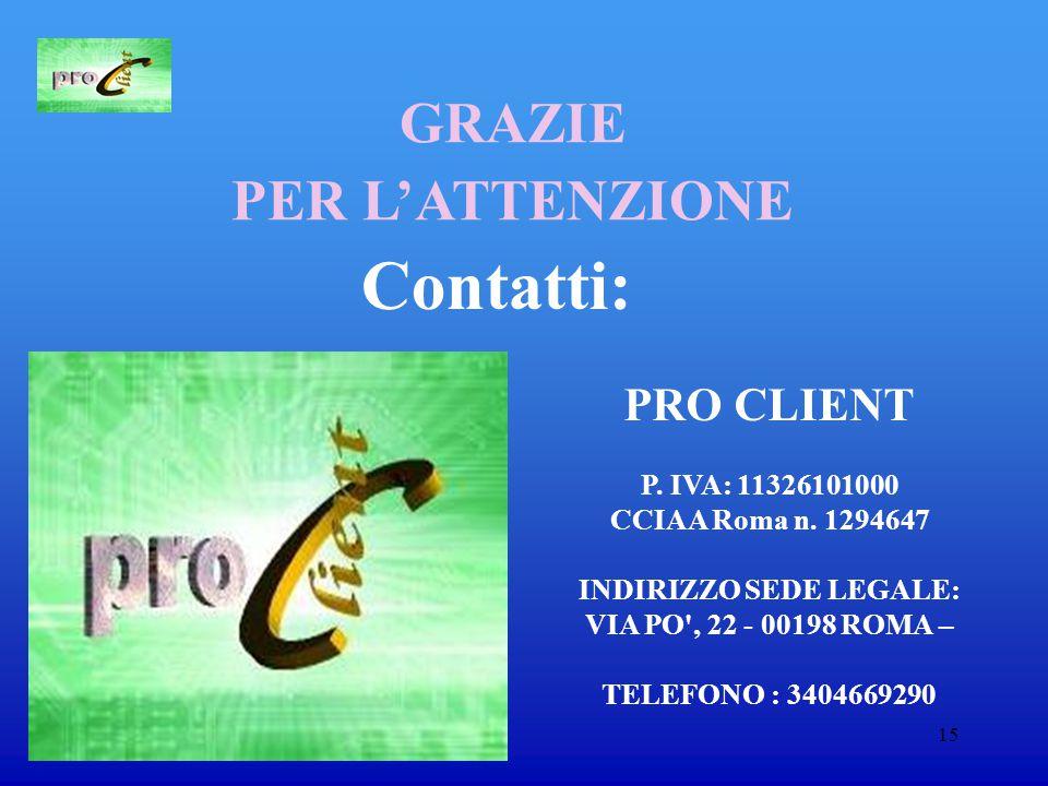 15 Contatti: PRO CLIENT P. IVA: 11326101000 CCIAA Roma n.