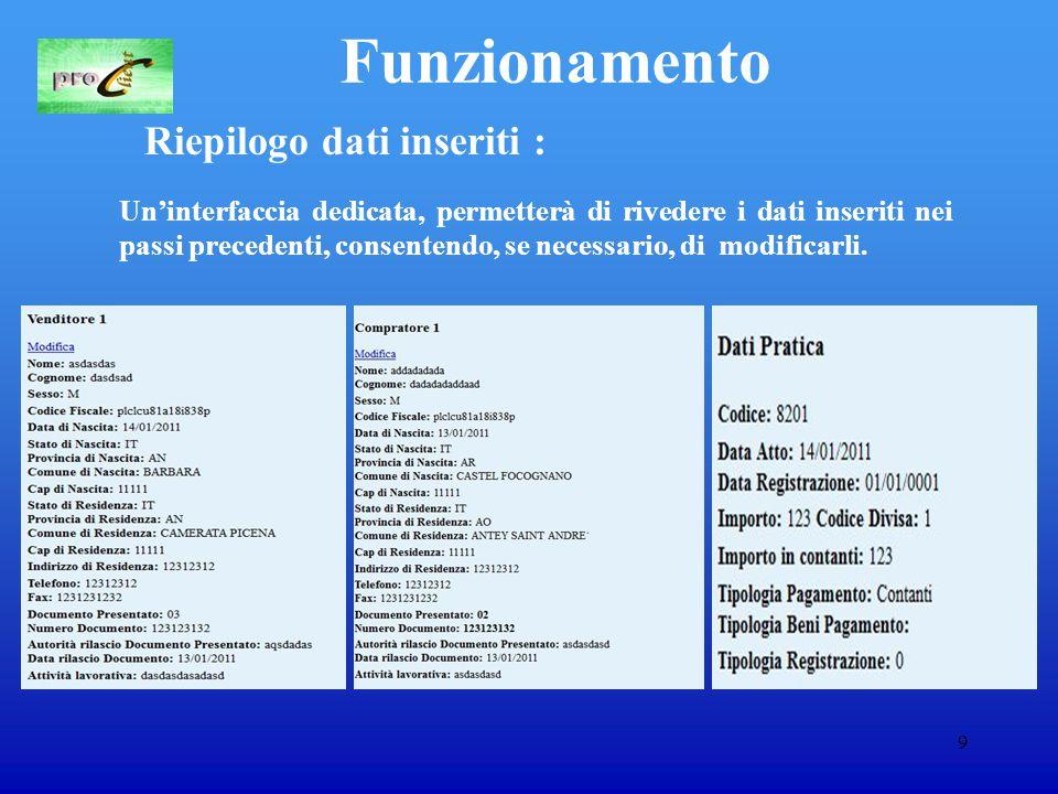 9 Funzionamento Riepilogo dati inseriti : Un'interfaccia dedicata, permetterà di rivedere i dati inseriti nei passi precedenti, consentendo, se necessario, di modificarli.