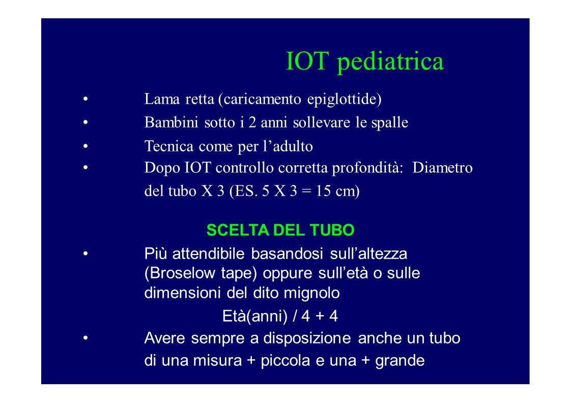 IOT pediatrica Lama retta (caricamento epiglottide) Bambini sotto i 2 anni sollevare le spalle Tecnica come per l'adulto Dopo IOT controllo corretta profondità: Diametro del tubo X 3 (ES.